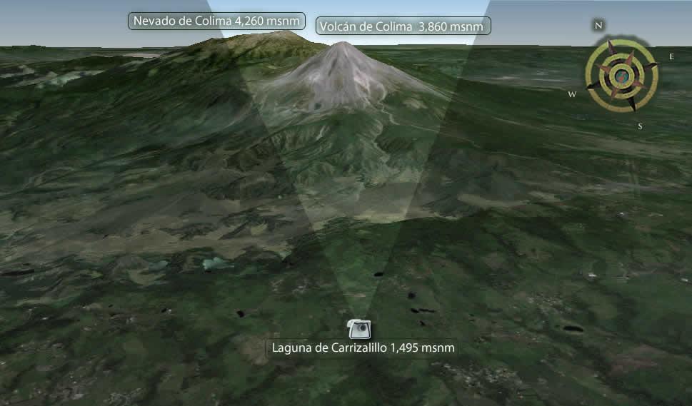 Immagini Vulcano Colima in Messico con una webcam sul posto